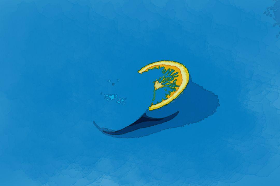 blue lemon sliced into two halves
