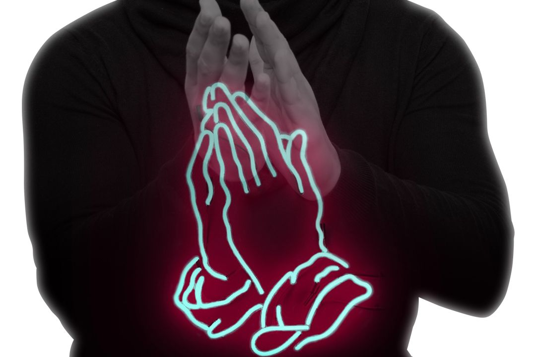 praying hand neon signage