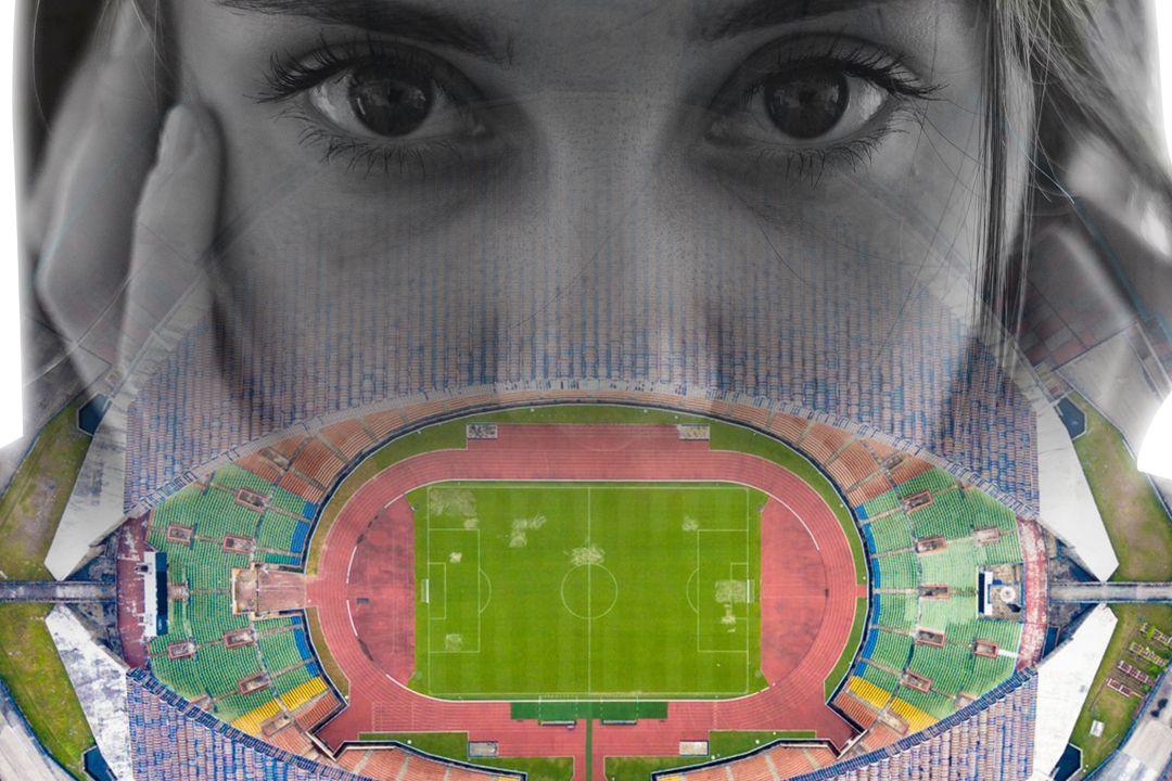 birds eye view of soccer stadium