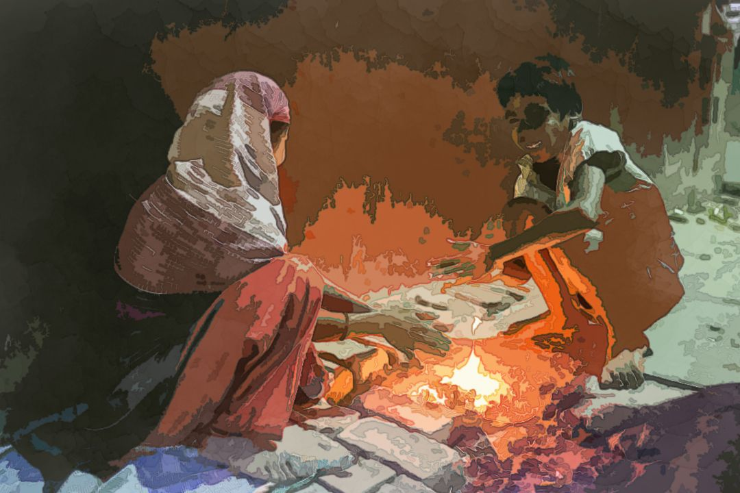 fire between woman and boy