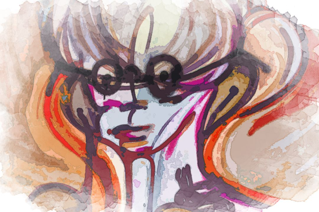 devil holding heart mural