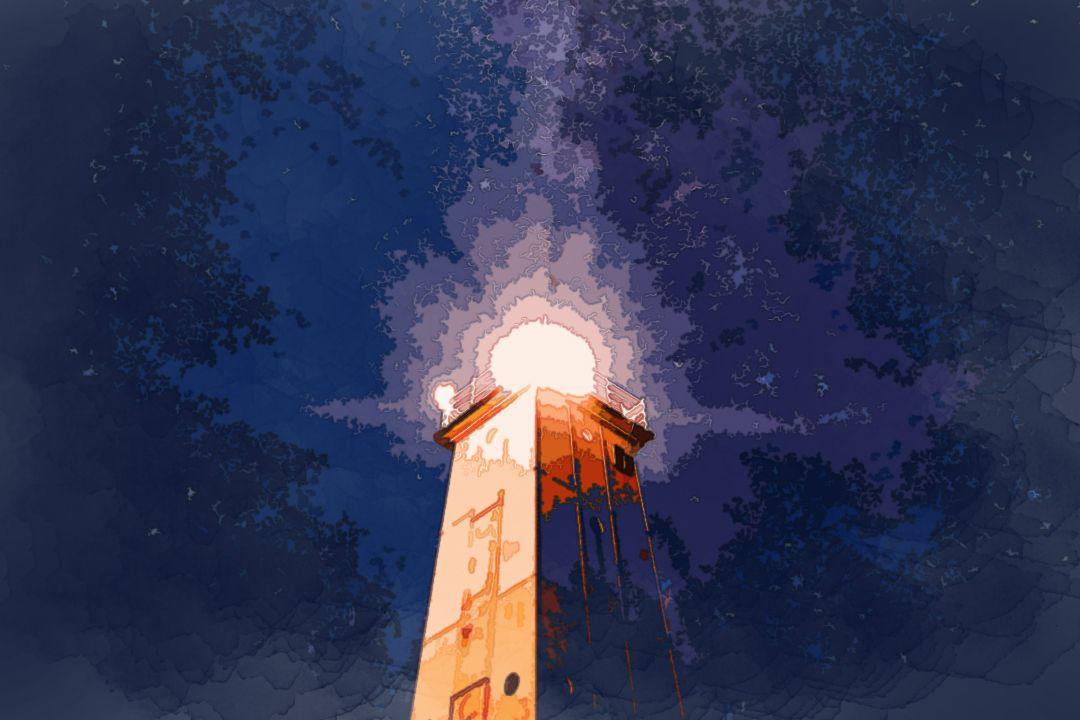 lighthouse under purple galaxy